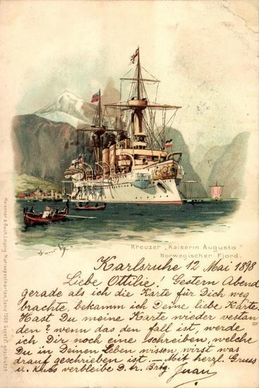Künstler Lihto Meissner Buch, Kreuzer Kaiserin Augusta--Giclee Print