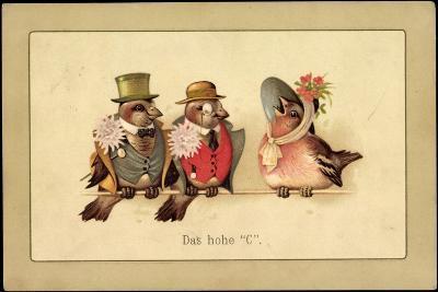 Künstler Litho Das Hohe C, Drei Vögel in Menschenkleidung, Gesang--Giclee Print