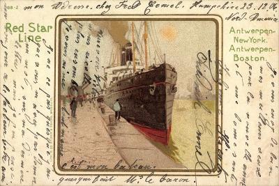 Künstler Litho Red Star Line, Dampfer Im Hafen--Giclee Print