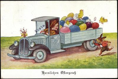 Künstler Ostereier, Küken, Hase, Lastkraftwagen--Giclee Print