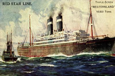 Künstler Red Star Line, Westernland, Steamer, Dampfer--Giclee Print