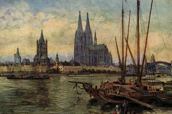 Künstler Rüdell, K., Köln Rhein, Blick Zum Dom,Boote--Giclee Print