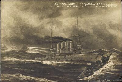 Künstler S.M.S. Yorck, S 178, Zusammenstoß, Sturm--Giclee Print
