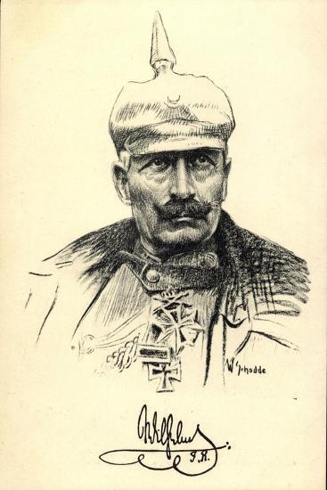 Künstler Schodde, Kaiser Wilhelm II, Spitzhaube--Giclee Print