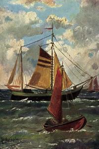 Künstler Schröpler, L., Segelschiffe Und Boot, Meer