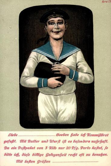 Künstler Seemann Mit Einem Brotleib in Den Händen--Giclee Print