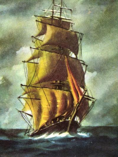 Künstler Segelschiff, 2 Master Auf Hoher See, Wolken--Giclee Print
