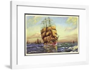 Künstler Segelschiff, 3 Master in Fahrt, Segelboote