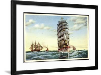 Künstler Segelschiffe, Dampfschiffe, Hohe See--Framed Giclee Print