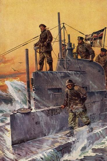 Künstler Stöwer, W., Kommandoturm, U Boot, Matrosen--Giclee Print