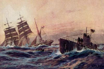 Künstler Stöwer, W., U Boot, Atlantik, Französ. Bark--Giclee Print