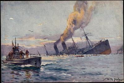 Künstler Stöwer, Willy, Deutsches U Boot, Mittelmeer--Giclee Print
