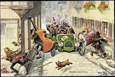 Künstler Thiele,Arthur,Hindernisfahrten,Auto,Musiker--Giclee Print