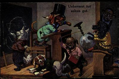 Künstler Thiele, Arthur, Uebermut Tut Selten Gut, Hunde, Schulklasse--Giclee Print