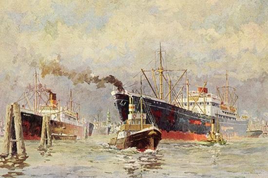 Künstler Wenskus, Claus, Hamburger Hafen, Dampfer--Giclee Print