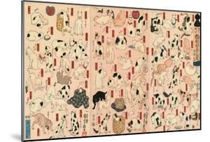 55 Cats Representing the Fifty-Three Stations of the Tokaido by Kuniyoshi Utagawa