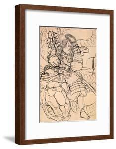 A Samurai Overwhelming a Giant Serpent by Kuniyoshi Utagawa