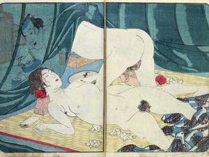 A 'Shunga' (Erotic) Print: 'All Passion Spent - the Satisfied Woman', C.1855 by Kuniyoshi Utagawa