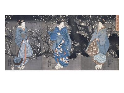 An Oban Triptych Depicting a Nocturnal Scene with Three Bijin