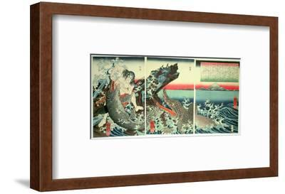 Asahina Saburo and the Crocodiles, Pub. 1849 (Colour Woodblock Print)