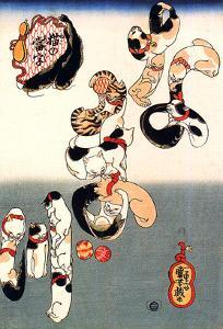Cats Forming the Characters for Catfish by Kuniyoshi Utagawa