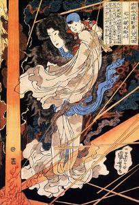 Fusehime Saving Inue Shimbyoe Masahi from a Thunderboit by Kuniyoshi Utagawa