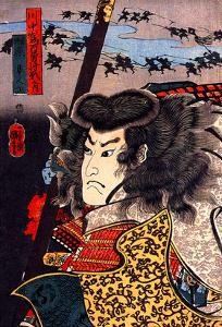 Hara Hayato No Sho Holding a Spear by Kuniyoshi Utagawa