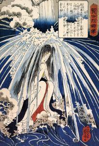 Hatsuhana Doing Penance under the Tonosawa Waterfall by Kuniyoshi Utagawa