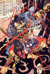 Ino Hayata Hironao Grappling with the Monster by Kuniyoshi Utagawa