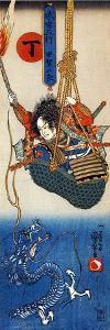 Koga Saburo Suspendeding a Basket Watching a Dragon by Kuniyoshi Utagawa