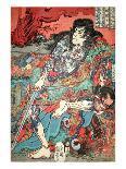 Mitsukini Defying the Skeleton Spectre, circa 1845-Kuniyoshi Utagawa-Giclee Print