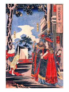 Lady Kayo Shoots an Arrow into the Eye of Princess Sai by Kuniyoshi Utagawa