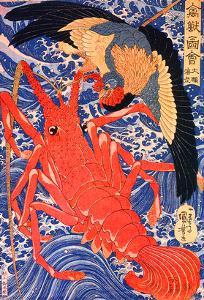 Lobster and Bird by Kuniyoshi Utagawa