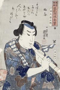 Man Playing a Flute by Kuniyoshi Utagawa