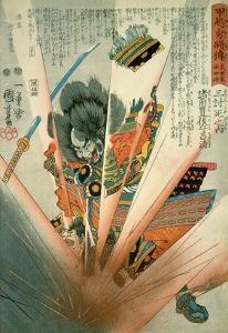 Masakiyo Blown Up by a Land Mine at Kawanakajima, C.1848 by Kuniyoshi Utagawa