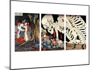 Mitsukini Defying the Skeleton Spectre, circa 1845 by Kuniyoshi Utagawa
