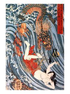 Tamatori Being Pursued by a Dragon by Kuniyoshi Utagawa