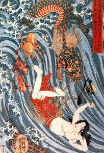 Tamatori Being Pursued by a Dragon by Kuniyoshi Utagawa
