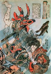 Tameijiro Dan Shogo Grappling with an Adversary under Water by Kuniyoshi Utagawa