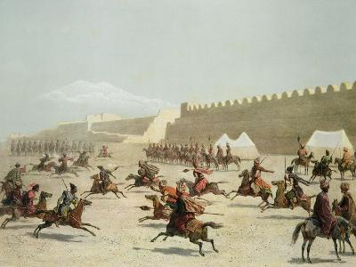 Kurdish and Tatar Warriors, Sadar Abbat, Armenia, Plate 15, Book on Caucasuss, c.1847-Grigori Grigorevich Gagarin-Giclee Print