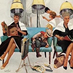 """Cowboy Asleep in Beauty Salon,"" May 6, 1961 by Kurt Ard"
