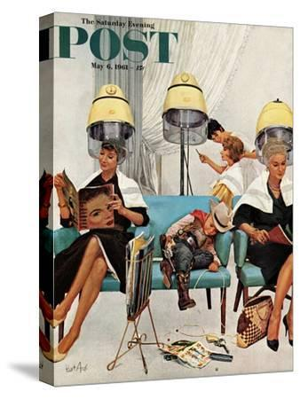 """Cowboy Asleep in Beauty Salon,"" Saturday Evening Post Cover, May 6, 1961"