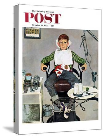 """In the Dentist's Chair"" Saturday Evening Post Cover, October 19, 1957"