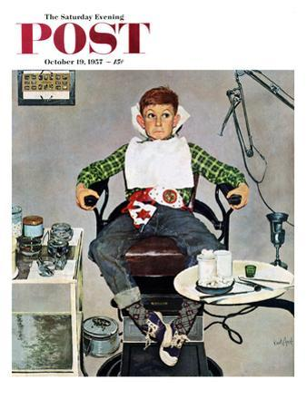 """""""In the Dentist's Chair"""" Saturday Evening Post Cover, October 19, 1957"""