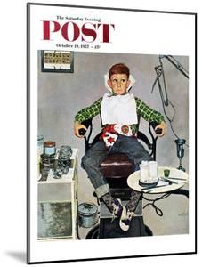 """""""In the Dentist's Chair"""" Saturday Evening Post Cover, October 19, 1957 by Kurt Ard"""