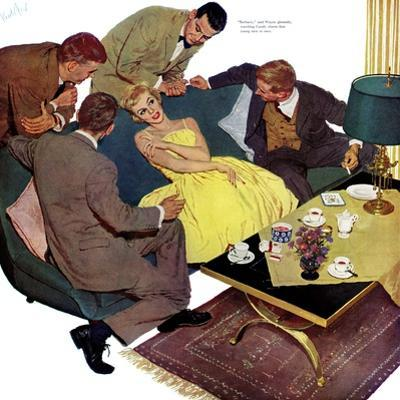 """Marriagable Age - Saturday Evening Post """"Men at the Top"""", December 13, 1958 pg.28 by Kurt Ard"""
