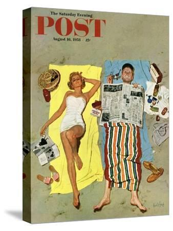 """Sunscreen?"" Saturday Evening Post Cover, August 16, 1958"