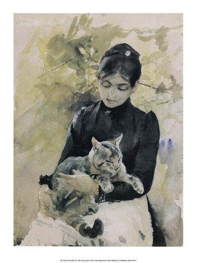 Kvinna with Cat, 1886-Bruno Liljefors-Art Print