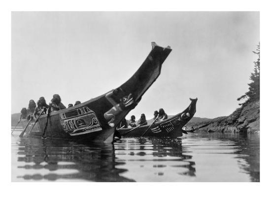 Kwakiutl Canoes, c1914-Edward S^ Curtis-Giclee Print