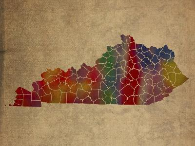KY Colorful Counties-Red Atlas Designs-Giclee Print